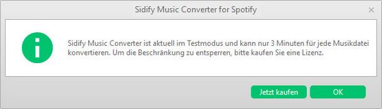 Trial limits of Spotify Music Converter