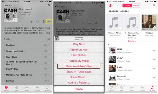 Verwenden Heruntergeladene Songs Daten